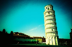 Pisa (saviorjosh) Tags: travel blue sky italy holiday building monument architecture lomo lca xpro lomography italia kodak historic pisa crossprocessing tuscany tall toscana vignetting leaningtower torrependente ebx elitechromeextracolour may2011