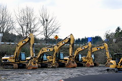 Cat Machines at Peterson  Cat, Eugene, OR (ejwag777) Tags: cat forestry blade peterson excavator skidder onsteel