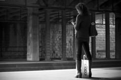 COOP (Ines Njers) Tags: light shadow blackandwhite woman monochrome bag 50mm switzerland nikon zurich streetphotography trainstation peoplephotography nikond5000