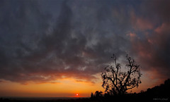 Ragged silhouette against the wild December sky (RobertCross1 (off and on)) Tags: california city sunset sky sun mountains silhouette clouds landscape atardecer fire evening losangeles downtown cityscape dusk sony socal pasadena puestadelsol sunsetwednesday quartasunset dschx9v