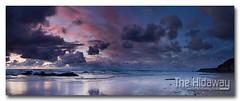 Sunset sky panorama - Explore #118  15/04/12 (Simon Bone Photography) Tags: sea sky cloud colour reflection beach silhouette clouds sand cornwall wetsand porthtowan cornishcoast canon1740mmlf4 cornishsunsets wwwthehidawaycouk canoneos7d