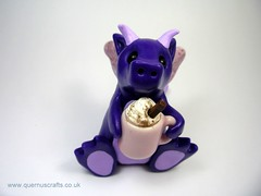 Purple Dragon (QuernusCrafts) Tags: pink wings dragon purple hotchocolate mug glasswings polymerclayquernuscraftscute