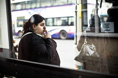 ::::: (Jamie Skilling) Tags: portrait england bus english public buses canon photography town women jamie britain leicester streetphotography documentary smoking portraiture transportation british socialdocumentary 2012 shelters busstops skilling busshelters le1 walltowall