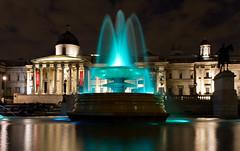 Green fountain at Trafalgar Square (Circum_Navigation) Tags: travel england building green london art monument water fountain museum architecture night square europe gallery britain famous illumination trafalgar national iluminated