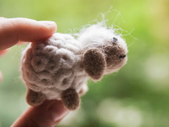 Felt sheep (Arina Borevich) Tags: people stilllife white color cute green wool beautiful animal closeup felted toy mammal photography one diy beige hand sheep little bokeh felting handmade object small craft felt size needle tiny lamb material quantity partofbody