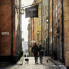 Bistro & Caf (Milla's Place) Tags: street city dogs alley stockholm textures lanterns gamlastan textured dogwalk millasplace