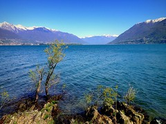 Blue sky, blue mountains, blue water . . . (PeterCH51) Tags: lake mountains nature landscape lago island switzerland spring ticino scenery locarno lagomaggiore iphone lakemaggiore brissago brissagoislands peterch51