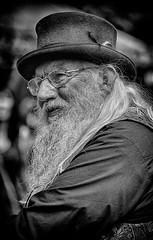 John Row - storyteller, poet, and owner of a very fine beard (Andy J Newman) Tags: street portrait england white hat festival silver beard unitedkingdom folk candid row gb hdr chippenham silverefex johnrow hdrefex