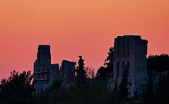 Agora, Acropolis Sunset- Athens, Greece (Flortography) Tags: pink light sunset orange building history monument stone skyline architecture rouge greek ruins europe outdoor eu athens tourist unesco greece acropolis mythology agora attraction flickerunitedaward