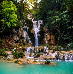 KUANGSI (mikedeclerck) Tags: blue trees panorama sun nature water composition canon waterfall asia hiking walk adventure jungle laos wowie naturelovers natgeo kuangsi instagram