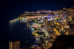 A bird's eye view (Tiomax80) Tags: above city longexposure sea skyline night port buildings lights coast harbor seaside nikon cotedazur riviera raw nef cityscape view nocturnal harbour casino montecarlo monaco fromabove shore citylights bluehour nikkor seashore frenchriviera d610 heurebleue tiomax