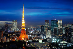 Tokyo Tower (Patrick Foto ;)) Tags: park city light sunset sky urban sunlight building tower japan skyline architecture modern night sunrise buildings landscape japanese hotel tokyo evening office twilight scenery asia cityscape fuji view dusk district famous landmark scene business jp minatoku financial sunbeam tkyto