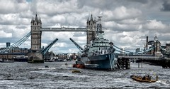 R.Thames London (nedjetwave) Tags: london water clouds towerbridge nikon ship hmsbelfast pooloflondon riverthames cloudscape bankside hss tonemapped mvbalmoral standi coolpixs9900