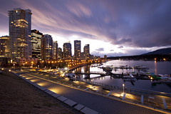 Good Evening, Vancouver! (Claire Chao) Tags: city longexposure canada lines vancouver corner canon concrete dusk britishcolumbia wideangle line nightlight curve coalharbour citylight aftersunset longexposures wideanglelens urbanenvironment 1635mmf28 canonllens daylightwhitebalance floatingclouds aftersundown floatingcloud curvedline seeninvancouver daylightwb canoneos5dmarkii 5500k10 spaceincity