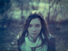Deep Blue Winter (kenny ip) Tags: portrait london film polaroid alice instant expired 669 packfilm canningtown instantfilm polaroid195 polacolor tominon kennyip 114mmf38