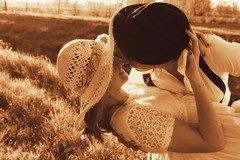 Day twelve. (Sishbork) Tags: girls light cute love girl smile hat fashion vintage happy photography photo hug kiss hats happiness lovely smily whitedress widebrimmedhat
