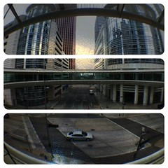 IMG_0085 (etee) Tags: usa downtown triptych tx houston smithst fisheye 100cameras ipad diptic skyring olloclip