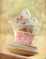 'Each cup of tea represents an imaginary voyage.' (.OhSoBoHo) Tags: china texture love canon vintage 50mm tea live dream collection teacups stacks aliceinwonderland topsyturvy chamomile fauxvintage englishbonechina boniver canoneos40d 50daysof50mm kimklassen icollectvintageteacups