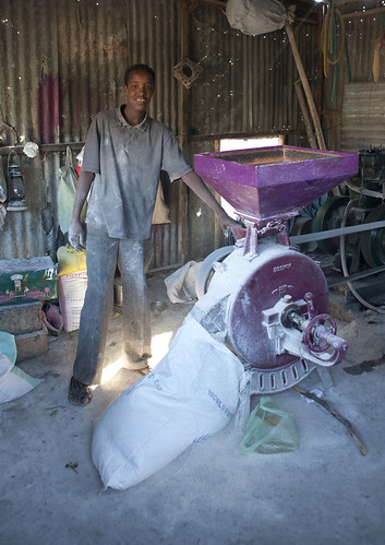 Teenage Boy Using Electric Mill In A Workshop Boorama Somaliland