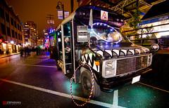 Illuminate Yaletown Glowing Monster Bus (stephenccwu) Tags: longexposure bus rain vancouver nikon downtown britishcolumbia performance wideangle transportation yaletown d7000 tokina1116mm illuminateyaletown