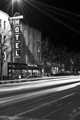 Fort Collins Hotel (albinobobman) Tags: street old city longexposure urban white black cars night lights hotel town streetlight downtown fort collins