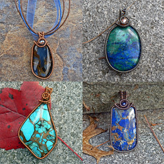 blue coated copper collage (magpie's miscellany) Tags: blue green turquoise copper pearl brass lapis azurite pietersite bonze wirewrap bronzite coatedcopper magpiesmiscellany