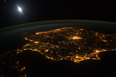 Iberian Peninsula at Night (NASA, International Space Station, 01/30/12) (NASA's Marshall Space Flight Center) Tags: moon portugal spain nasa morocco gibraltar iberianpeninsula internationalspacestation earthatnight airglow stationscience crewearthobservation stationresearch