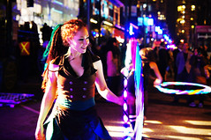 2012 Illuminate Yaletown - Glow Hula Hoop Performance (TOTORORO.RORO) Tags: show street light canada color reflection night vancouver hoop lens mirror glow bc view britishcolumbia sony hula performance dancer led yaletown translucent alpha f28 slt ssm greatervancouver a55 1650mm illuminateyaletown sal1650