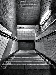 Stairs (D1978C) Tags: bw london stairs shoreditch lookingdown iphone4s
