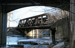 (floating_stump) Tags: railroad bridge ice wisconsin river iron photographer rusty wauwatosa menomoneeriver shootingtheshooter rebelxti ccmkephotowalk212