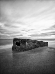 Pillbox (P2209934) monochrome (Mel Stephens) Tags: uk longexposure winter blackandwhite bw white seascape black monochrome silver geotagged visions coast scotland blackwhite long exposure olympus best coastal aberdeen 99 le gps scape hdr 2012 q1 cixpix aberdonia donmouth efex 201202