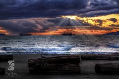Vancouver's English Bay in HDR (Kyle Bailey - Da Big Cheeze) Tags: sunset beach vancouver clouds landscape surf englishbay hdr highdynamicrange straightofgeorgia kylebailey dabigcheeze wwwkbaileyphotocom