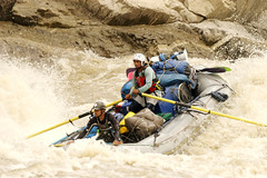 The gear boat doining its thing on the Sun Kosi river Adventure rafting and Kayaking trip