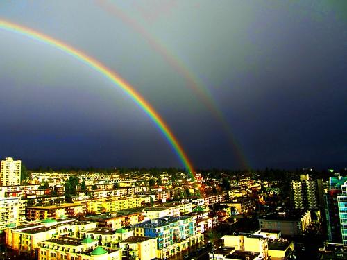 Brilliant double rainbow after a sudden rainstorm (explore)