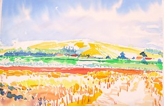 French landscape (skyeshell) Tags: france landscape hill expressionist watercolour fields fauvist pleinairpainting brushmarks paintingoutdoors