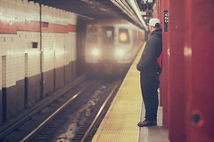 About time. (Linh H. Nguyen) Tags: life nyc light people urban newyork train underground subway bokeh streetshot nikkorh8518 nex7