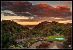 View from Lookout of Cataract Gorge at Sunset (darreng2011) Tags: trees sunset sky mountain water pool clouds canon eos path tasmania hdr launceston cataractgorge 600d mygearandme mygearandmepremium dblringexcellence tplringexcellence eltringexcellence