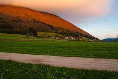 In a cloud (Karmen Smolnikar) Tags: road cloud field spring village hill meadow slovenia planina slovenijapostojnaslovenia