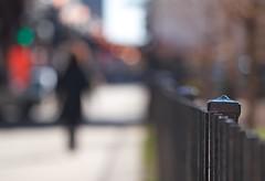 Angel in Black (Philocycler) Tags: fence bokeh redandblack chicagoist underthel mysteriousfigure angelinblack fencefriday bokehstoplight