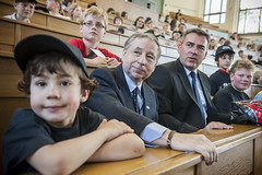 Jean Todt and Jan Mücke attend a children's event at the Annual Summit.