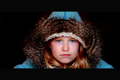 Intensity (DHaug) Tags: blue ontario canada portraits canon fur prime hoodie serious jacket perth stare getty freckles caucasian blueeyed steely fauxfur 5dmkii gettyimagesartist sigma85mmf14exdghsm sigma85mmf14