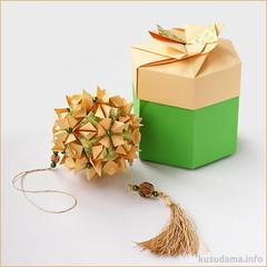 Gift box & kusudama (ronatka) Tags: square origami box gift modularorigami kusudama tomokofuse withbeads nataliaromanenko