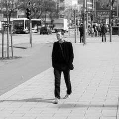 Mr. Black with white Headphone (1969cw) Tags: street people blackandwhite bw white square deutschland candid strasse hamburg headphones schwarzweiss technique deu quadratisch kopfhrer