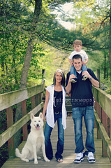 even the dog (jinjur71) Tags: bridge family boy portrait woman dog pet baby white man black mom outdoors 50mm spring woods nikon dad child naturallight jeans gingersnapps