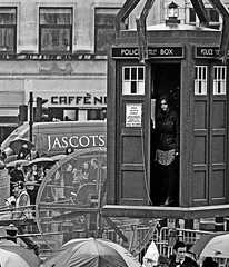 Matt Smith & Jenna -Louise Coleman filming Dr Who - Trafalgar Square (Nikon D7100) (markdbaynham) Tags: street city urban bw white black london monochrome matt square nikon who dr capital trafalgar smith cropped format coleman tardis dslr filming dx apsc 18105mm jennalouise