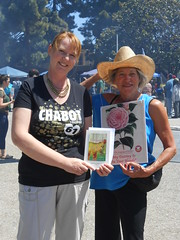 World Book Night Volunteer Group Book Giver Catherine Carroll with Book Recipient @ Chabot College - April 23, 2013 - Hayward, California - 085 (Hayward Public Library) Tags: california reading libraries books literacy thelanguageofflowers cityofhayward 94541 haywardpubliclibrary vanessadiffenbaugh worldbooknight2013