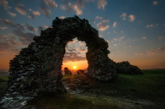 Beautiful sunset at Castell Dinas Bran (cheese and pickle) Tags: travel blue sunset orange sun color colour green castle history nature beautiful beauty grass sunshine wales clouds walking landscape outdoors spring nikon rocks seasons natural outdoor stones hills walls llangollen northwales castlewalls dinasbran