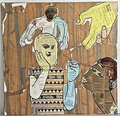 the embrace (jenniferbeinhacker.com) Tags: jenniferbeinhackercom selftaught women woman man men baby child boy girl faces eyes hands stamps face stamp collage foundobjects mixedmedia acrylicpaint tissuepaper menus hotelreceipts europe collection outsiderart visionaryart folkart artbrut artnaif naiveart contemporaryart modernart deviantart primitiveart embrace mudcloth africa brown grey yellow black blue expressionism surrealism artonwood assemblage artshow artgallery artomatic artomatic2017 crystalcityarlingtonvirginia