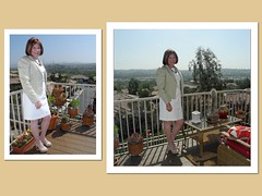 White is for Spring (krislagreen) Tags: white dress cd femme tan hose redhead tgirl jacket crossdress tg patent slingbacks feminized opentoepumps feminzation