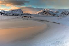 Sunrise Reflections - Lofoten (Jerry Fryer) Tags: sea sky mist snow ice norway clouds sunrise reflections river landscape frozen curves snowdrift 6d lofotenislands snowcoveredmountains leefilters haukland ef1635mmf4l